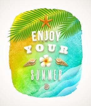 Fondo de acuarela con saludo de vacaciones de verano - ilustración.