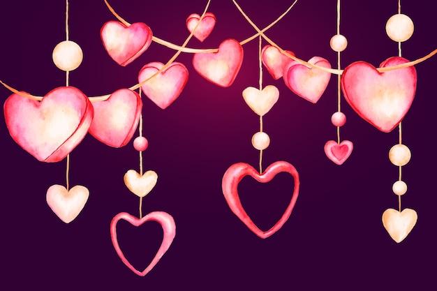 Fondo acuarela de san valentín con corazones colgantes