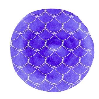 Fondo de acuarela sirena. fondo redondo dibujado a mano con adorno de escamas de pescado. colores brillantes. bandera e invitación de la cola de la sirena de la acuarela. patrón de mar y submarino de niña. vector azul.
