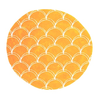 Fondo de acuarela sirena. fondo redondo dibujado a mano con adorno de escamas de pescado. colores brillantes. bandera e invitación de la cola de la sirena de la acuarela. patrón de mar y submarino de niña. vector naranja.