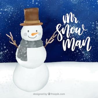 Fondo de acuarela con sr snowman