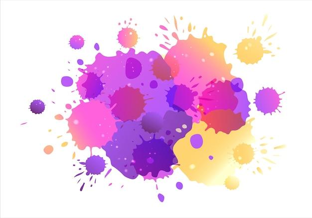 Fondo de acuarela de vector amarillo púrpura azul salpicaduras de acuarela azul sobre fondo eps 10