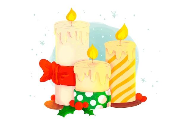 Fondo de acuarela de vela de navidad