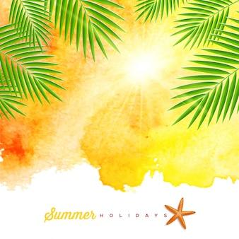 Fondo de acuarela de verano tropical con ramas de palmeras y estrellas de mar - ilustración.