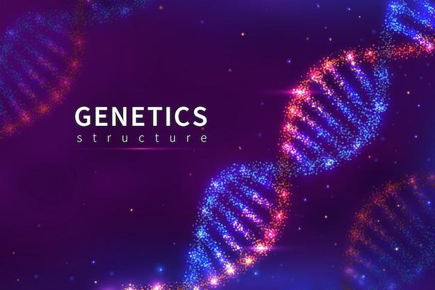 Fondo de adn. estructura genética, tecnología biológica. cartel del modelo de adn del genoma humano 3d