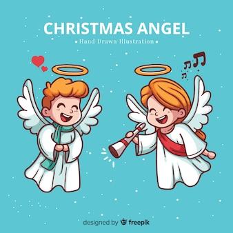 Fondo adorable con ángel de navidad dibujado a mano