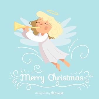 Fondo adorable con ángel de navidad en diseño plano