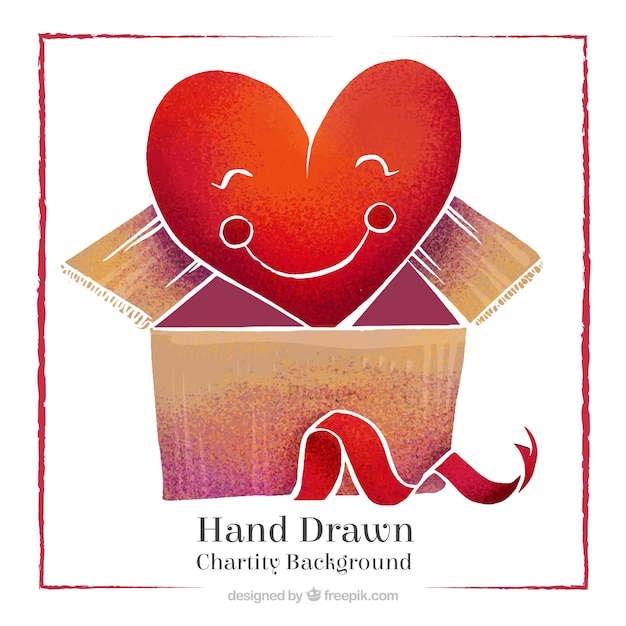 Fondo de adorable corazón dibujado a mano dentro de una caja