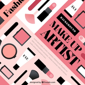 Fondo adorable con cosméticos de diseño plano