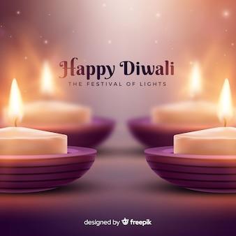 Fondo adorable de diwali con diseño realista