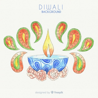 Fondo adorable de diwali en acuarela
