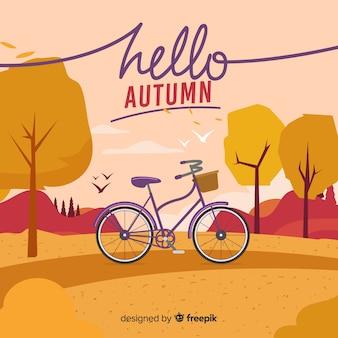 Fondo adorable de otoño con diseño plano