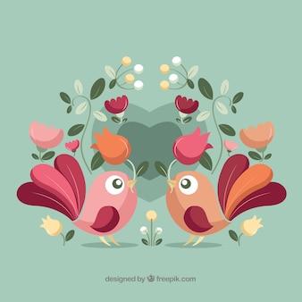 Fondo adorable del día de san valentín con pájaros