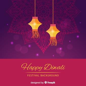 Fondo adorable de diwali con diseño plano