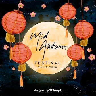 Fondo adorable de festival de medio otoño en acuarela