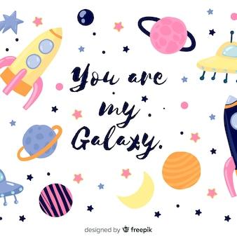 Fondo adorable de galaxia dibujada a mano