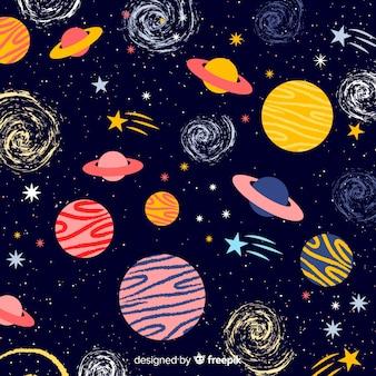 Fondo adorable de galaxia dibujado a mano