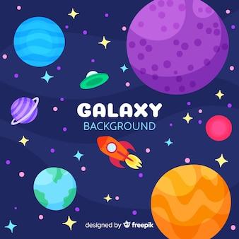 Fondo adorable de galaxia con diseño plano