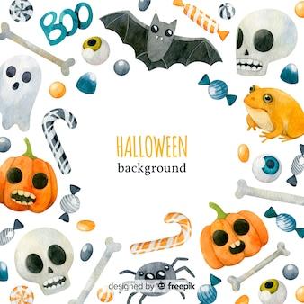 Fondo adorable de halloween en acuarela