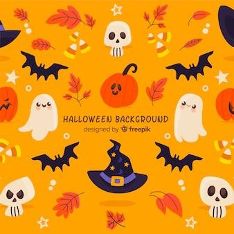 Fondo adorable de halloween dibujado a mano