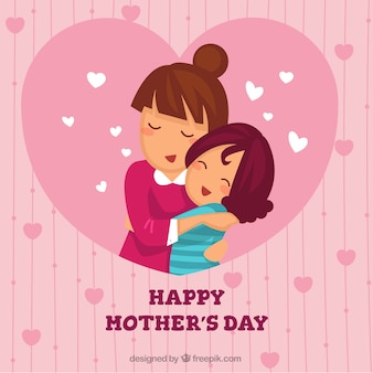 Fondo adorable de madre abrazando a su hija