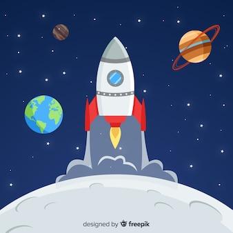 Fondo adorable de nave espacial con diseño plano