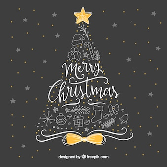 Fondo adorable de navidad dibujado a mano