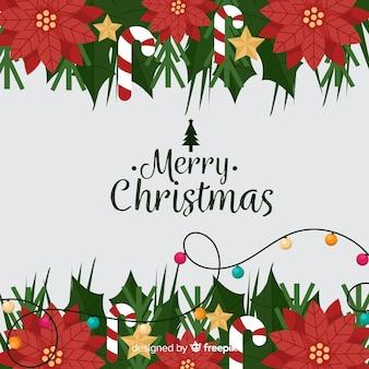 Fondo adorable de navidad con diseño plano
