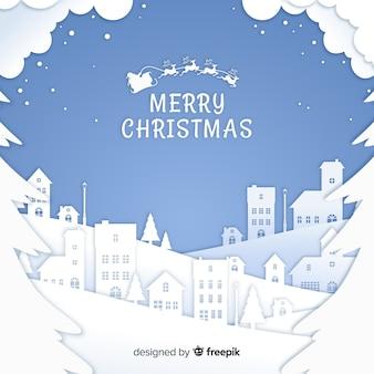 Fondo adorable de navidad con estilo de papel