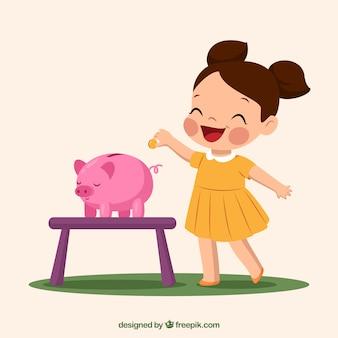 Fondo de adorable niña ahorrrando