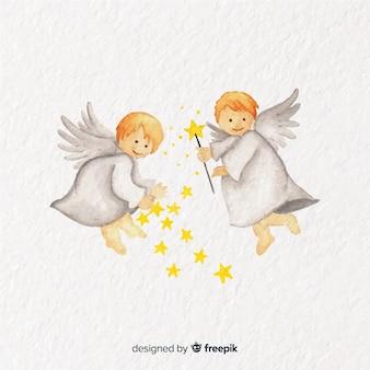Fondo adorable con pareja de ángeles de navidad en acuarela