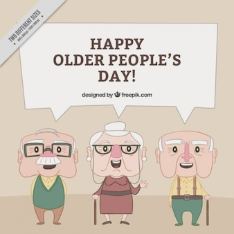 Fondo de adorables personas mayores dibujadas a mano