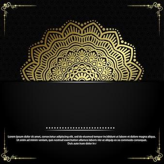 Fondo adornado de mandala de oro de lujo