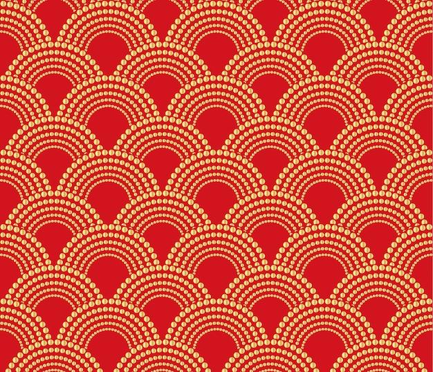Fondo de adorno oriental tradicional chino, rojo con patrón dorado a menos que.