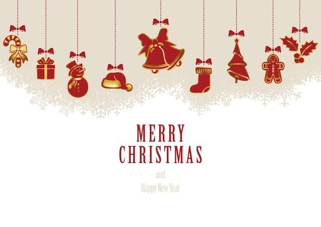 Fondo de adornos navideños colgantes