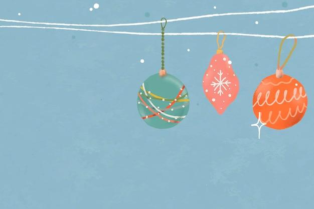 Fondo de adornos navideños, vector de ilustración de vacaciones de invierno