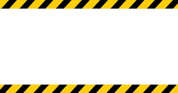 Fondo de advertencia en blanco rayado de línea negra y amarilla