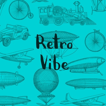 Fondo con aeronaves steampunk dibujado a mano, globos de aire, bicicletas y coches con lugar para ilustración de texto