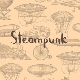Fondo con aeronaves steampunk dibujado a mano, globos de aire, bicicletas y coches con lugar para la ilustración de texto