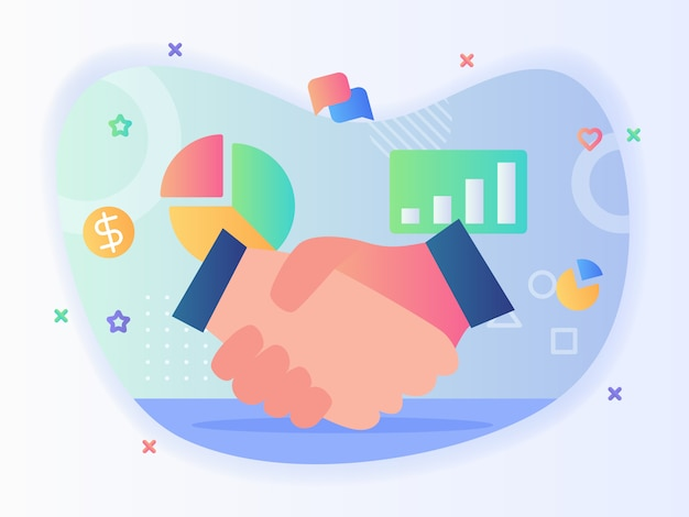 Fondo de agitación de mano del icono de chat de burbuja de gráfico de dinero de gráfico circular establece concepto de asociación empresarial con estilo plano.