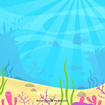 Fondo bajo el agua con animales aquaticos