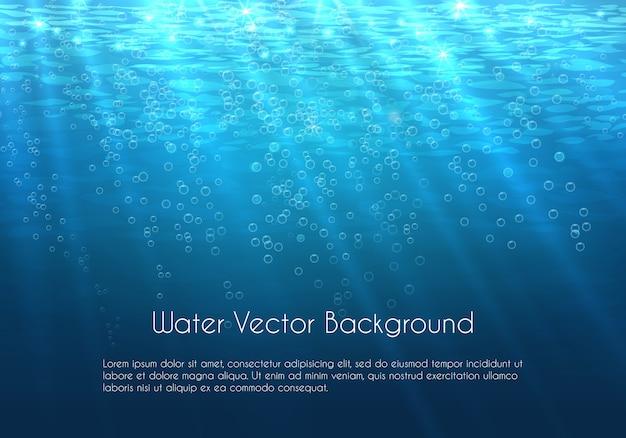Fondo de agua azul profundo con burbujas. naturaleza submarina del mar