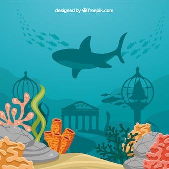Fondo bajo el agua con caricaturas de animales acuáticos