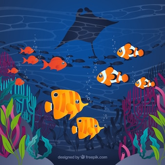 Fondo de bajo el agua con peces coloridos