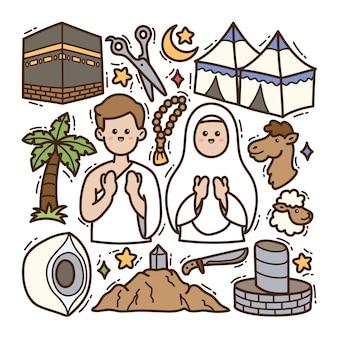 Fondo aislado de la ilustración de handdrawn del doodle del hajj
