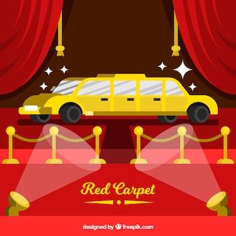 Fondo de alfombra roja en estilo plano