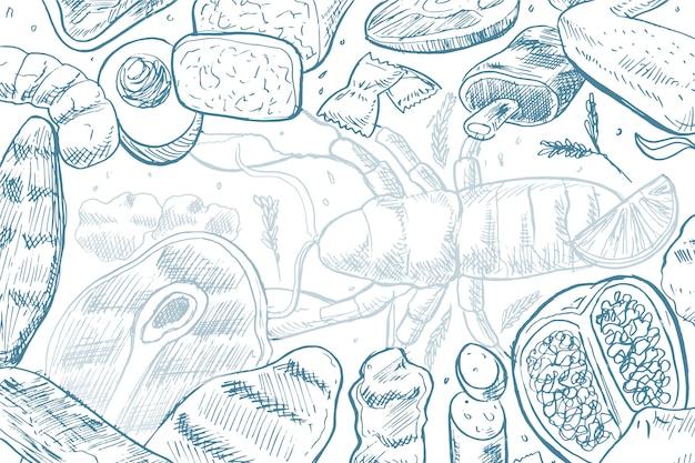 Fondo de alimentos dibujados a mano