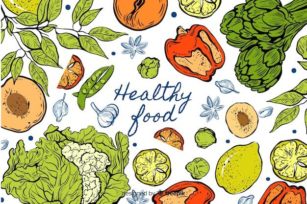 Fondo de alimentos saludables dibujados a mano