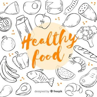 Fondo con alimentos saludables