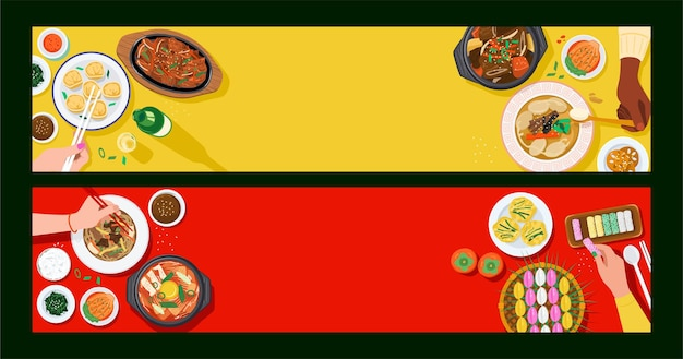 Fondo de alimentos, vista superior de personas que comen comida coreana